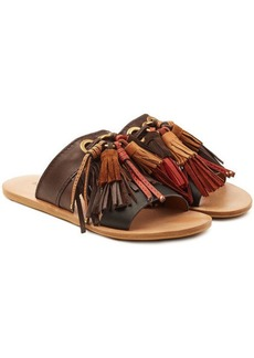 See by Chloé Leather Sandals with Suede Fringes