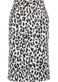 See by Chloé Leopard-print Denim Midi Skirt