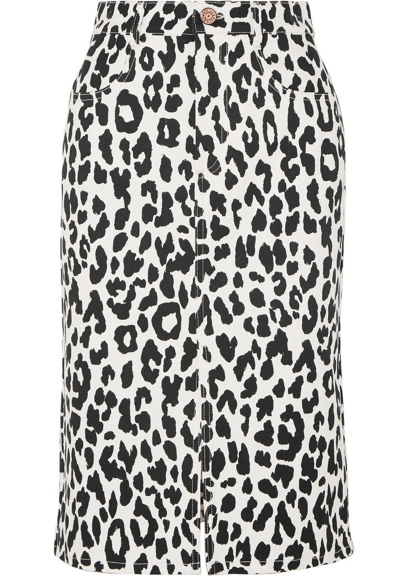 See by Chloé Leopard-print Denim Midi Skirt