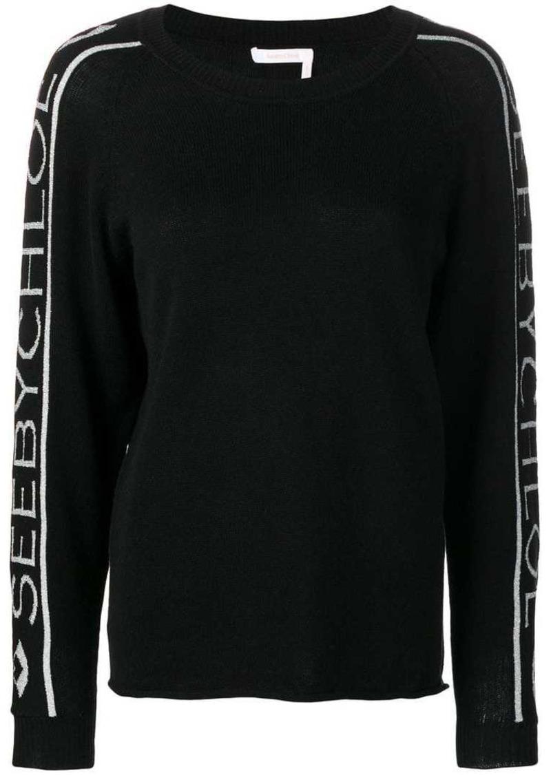 See by Chloé logo-stripe sweater