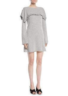 See by Chloé Long-Sleeve Crewneck Heathered Alpaca-Blend Mini Dress w/ Ruffled Trim