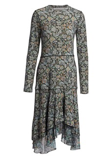 See by Chloé Long Sleeve Floral Midi Dress