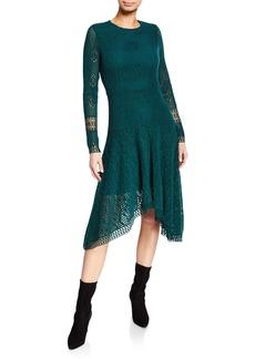 See by Chloé Long-Sleeve Lace Asymmetrical Dress