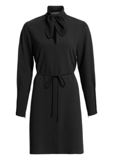 See by Chloé Long-Sleeve Tieneck Crepe Shirtdress