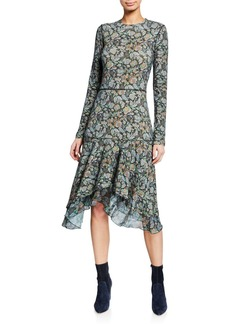 See by Chloé Long-Sleeve Tiered Printed Flounce Dress