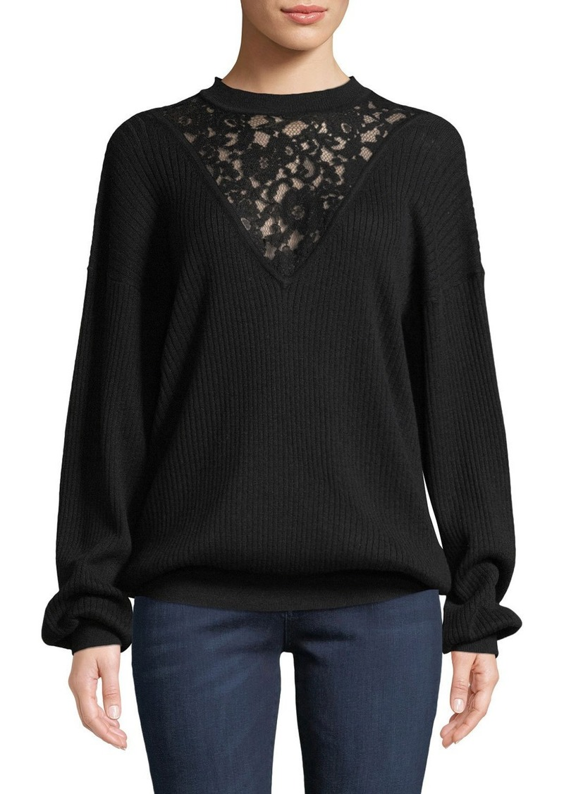 See by Chloé Long-Sleeve Wool Pullover Sweater with Lace Inset