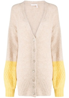 See by Chloé longline colour-block cardigan