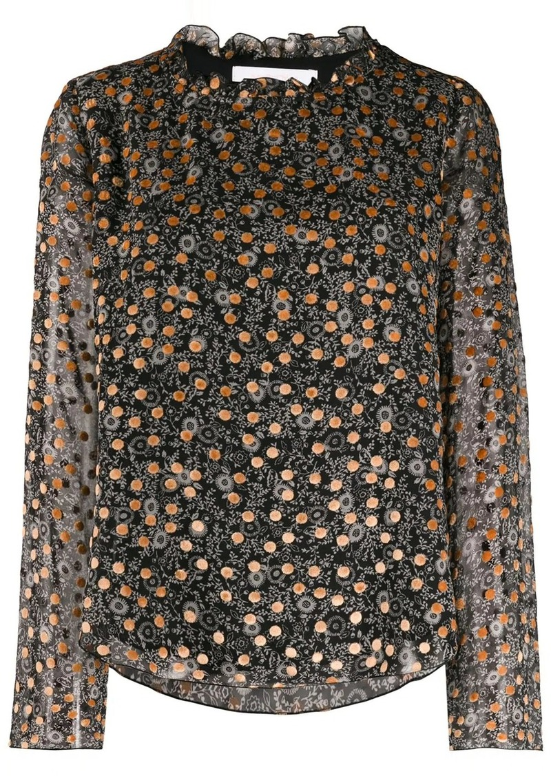 See by Chloé loose-fit print mix blouse