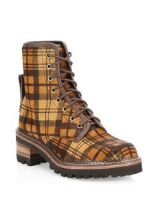 See by Chloé Marta Plaid Calf Hair Lace-Up Boot