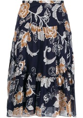 See by Chloé metallic floral print skirt