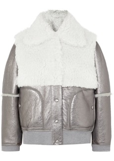 See by Chloé Metallic Leather And Shearling Jacket