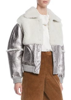 See by Chloé Metallic Leather Shearling Bomber Jacket