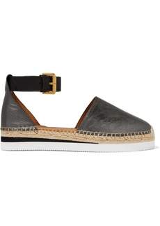 See by Chloé Metallic Leather Wedge Espadrilles