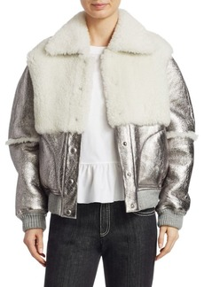 See by Chloé Metallic Shearling Bomber