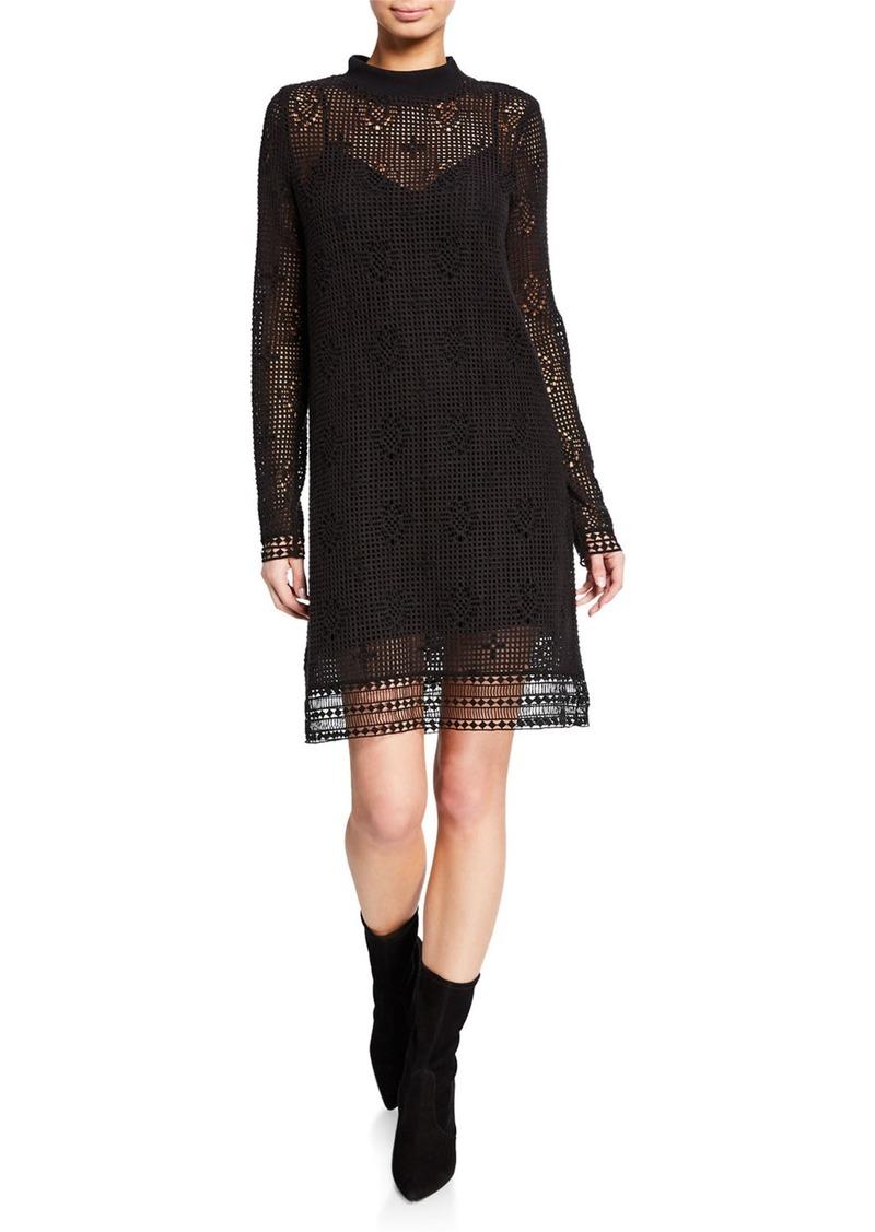 See by Chloé Mock-Neck Lace Long-Sleeve Dress