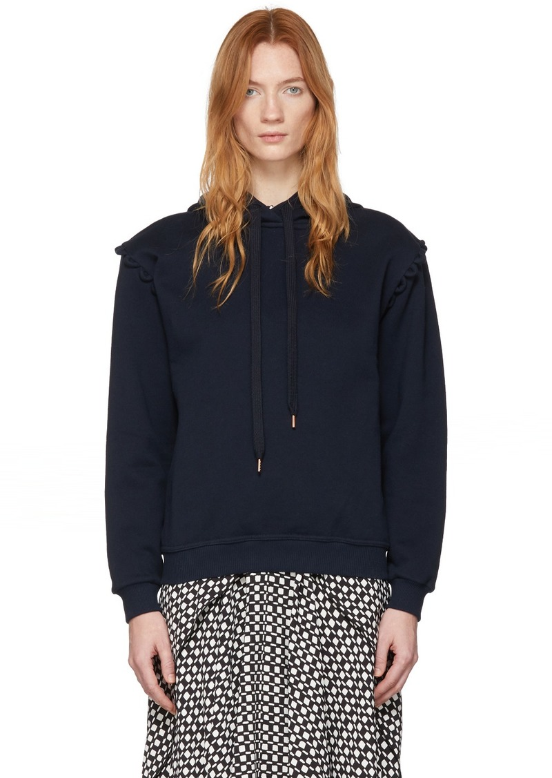 See by Chloé Navy Fleece Scallop Shoulder Hoodie