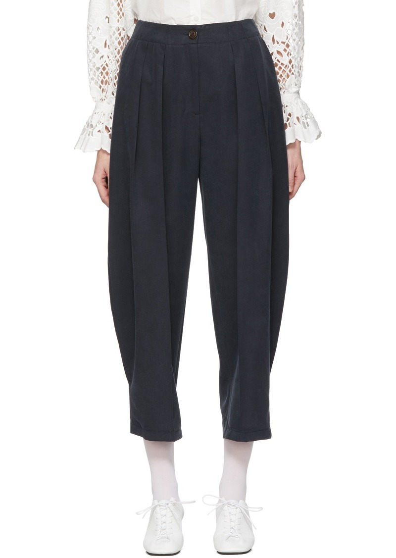 See by Chloé Navy Flowy Pleated Trousers
