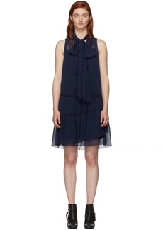 See by Chloé Navy Front Neck Tie Dress