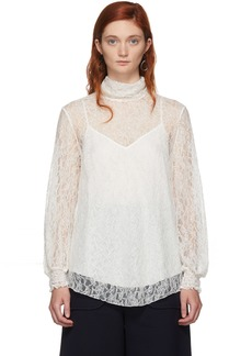 See by Chloé Off-White Lace High Neck Blouse
