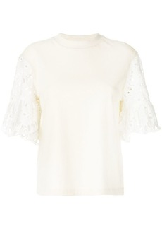 See by Chloé open embroidery sleeve tee