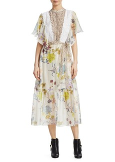 See by Chloé Organza Floral Midi Dress