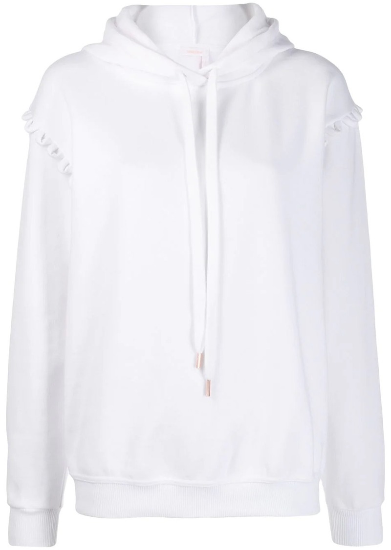 See by Chloé oversized scalloped trim hoodie