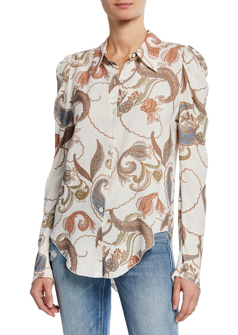See by Chloé Paisley-Print Long-Sleeve Button-Up Blouse
