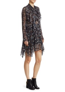 See by Chloé Paisley Sheer Long Sleeve Mini Dress