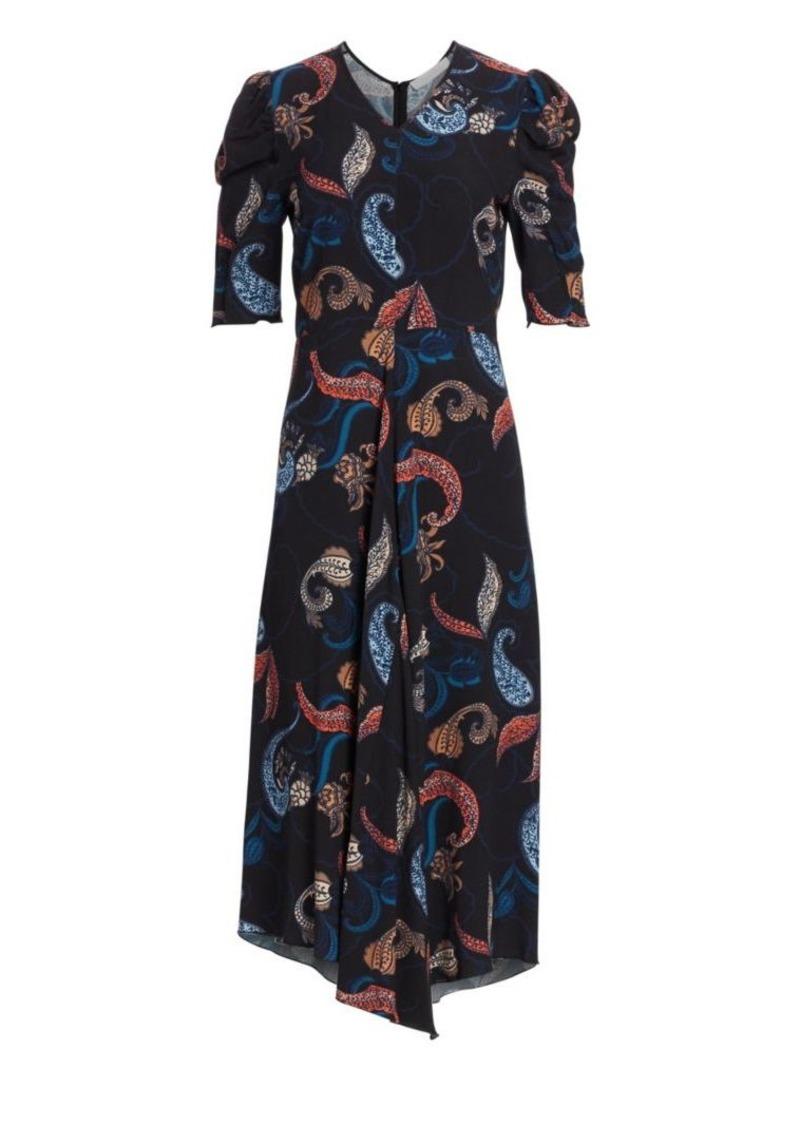 See by Chloé Paisley Short-Sleeve Midi Dress