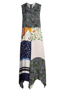 See by Chloé Patchwork Print Sleeveless Maxi Handkerchief Dress