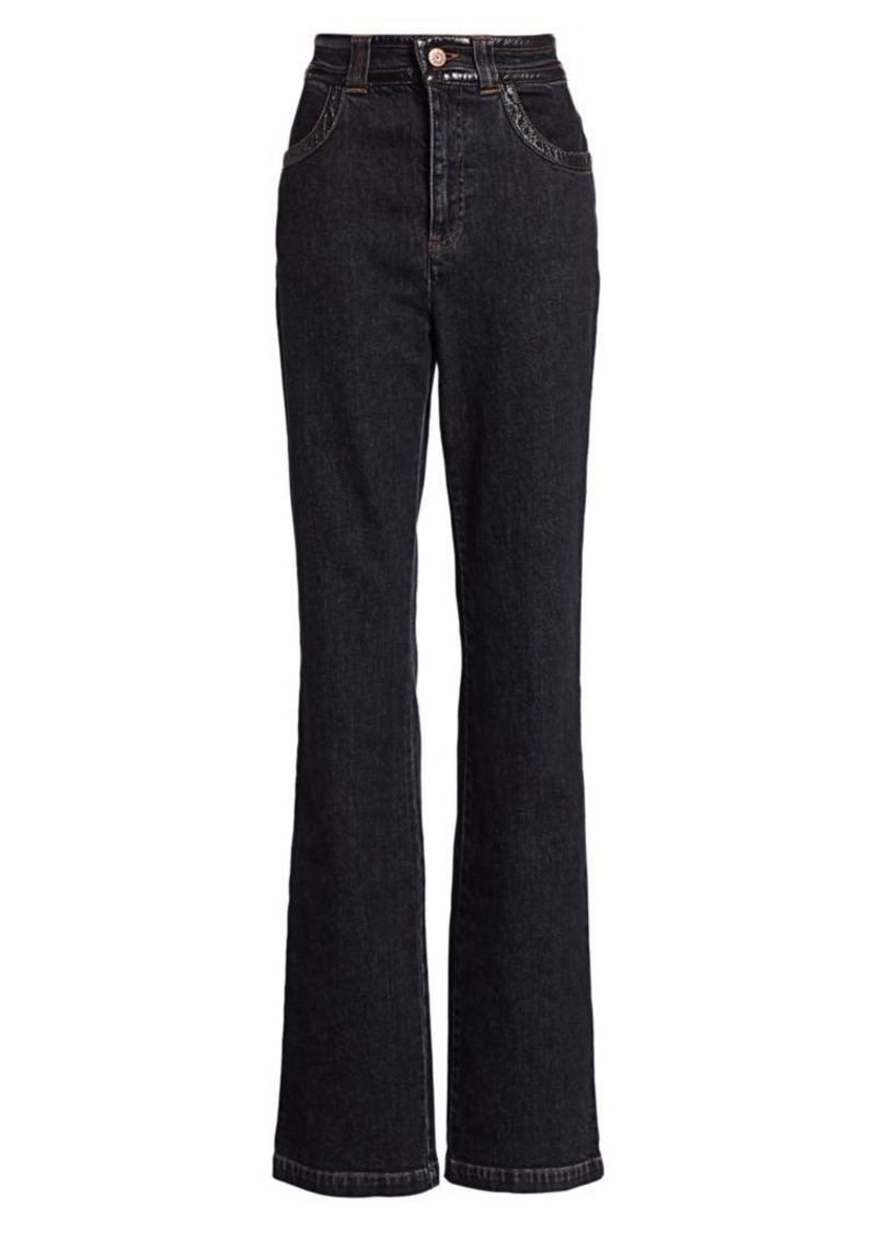See by Chloé Patent-Trim Flare Jeans