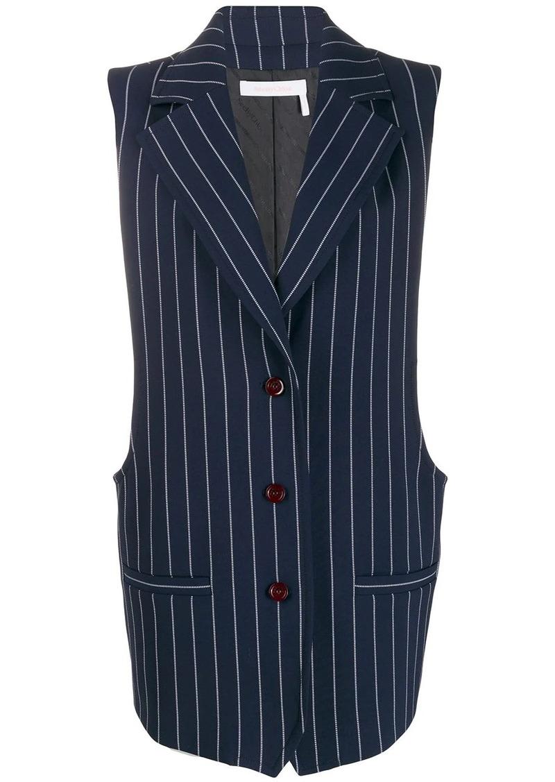 pinstripe longline waistcoat