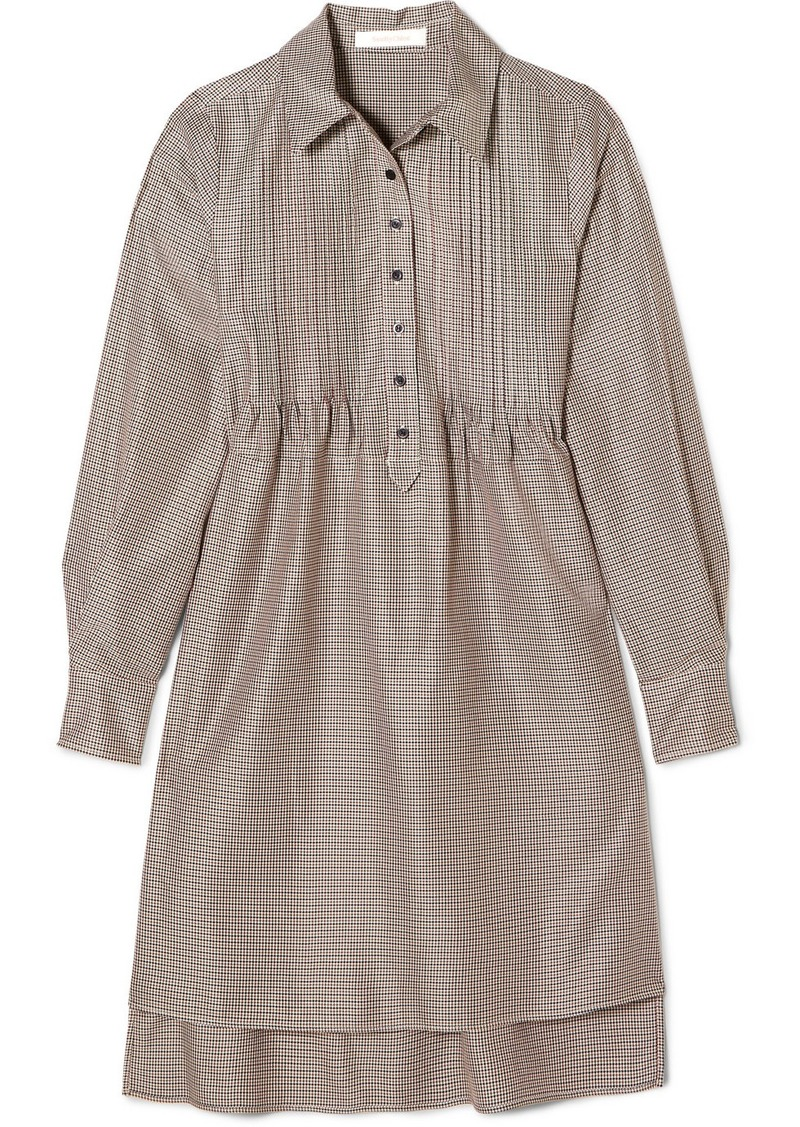 See by Chloé Pintucked Houndstooth Tweed Dress