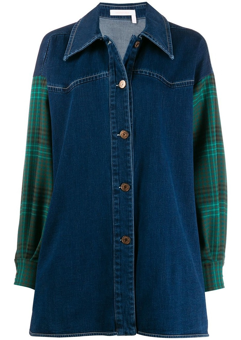 See by Chloé plaid panelled denim shirt