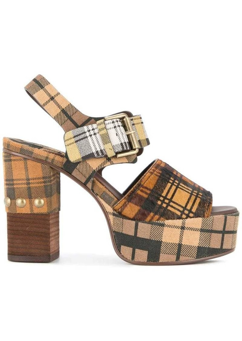See by Chloé Plaid Plateau sandals
