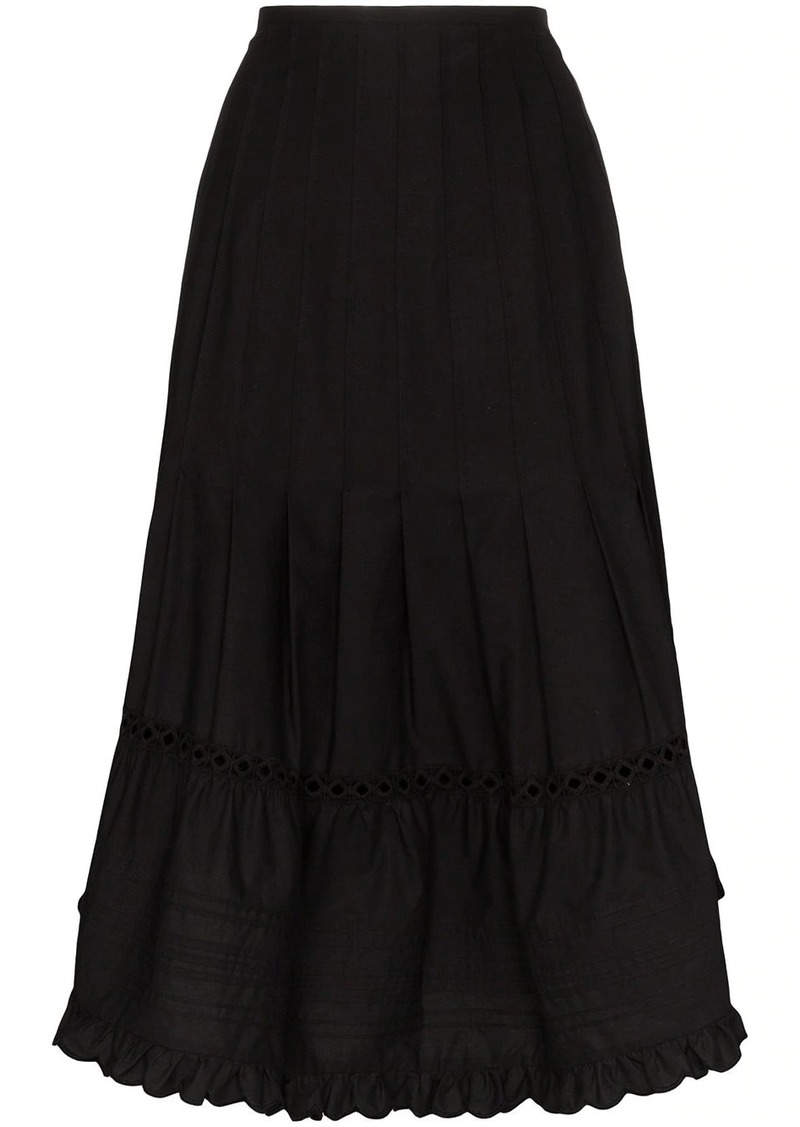 See by Chloé pleated cotton midi skirt
