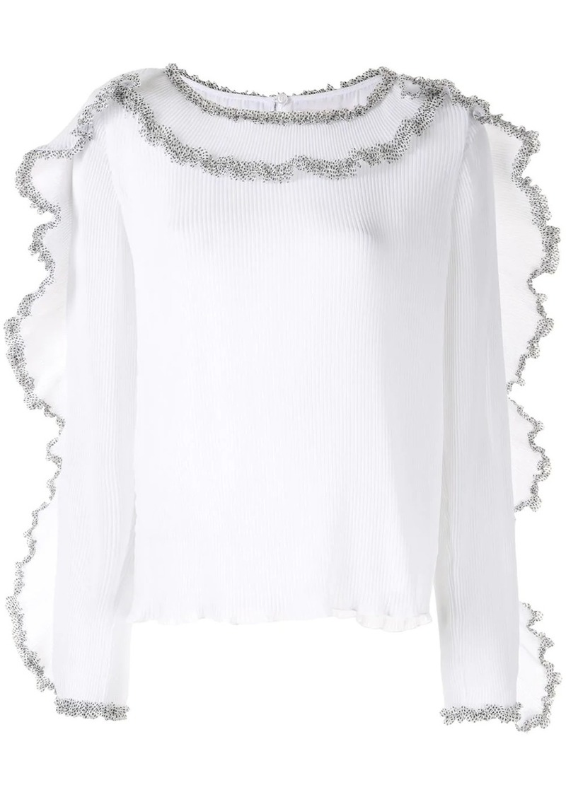 See by Chloé pleated georgette ruffle blouse