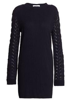 See by Chloé Plissé Jersey Mesh Cable Knit-Trim Sweater Dress