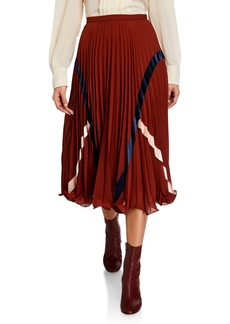 See by Chloé Plisse Striped Midi Skirt