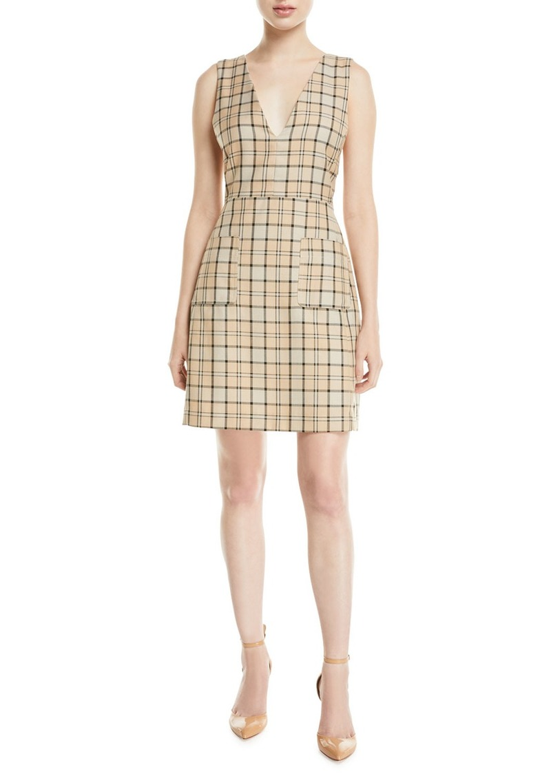 See by Chloé Plunge-Back Tattersall Dress with Pockets
