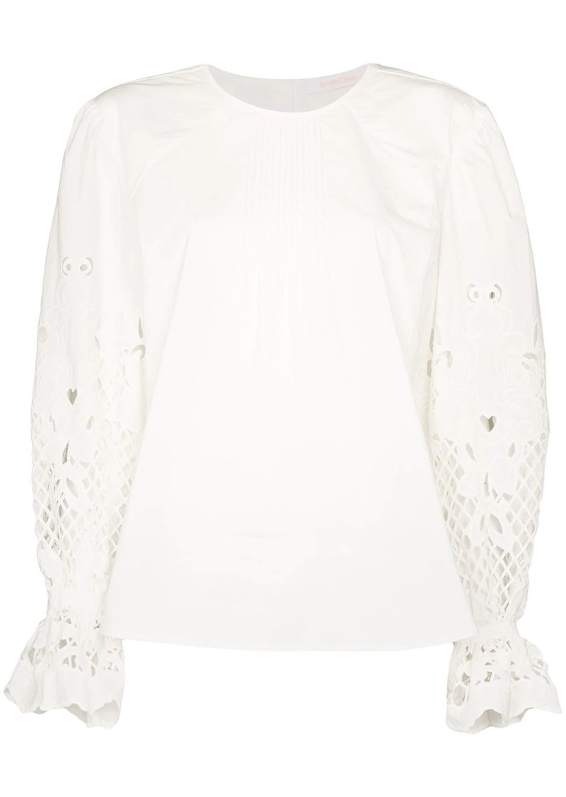 See by Chloé pouf-sleeve floral detail blouse