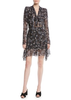 See by Chloé Printed Tie-Neck Long-Sleeve Flounce Dress