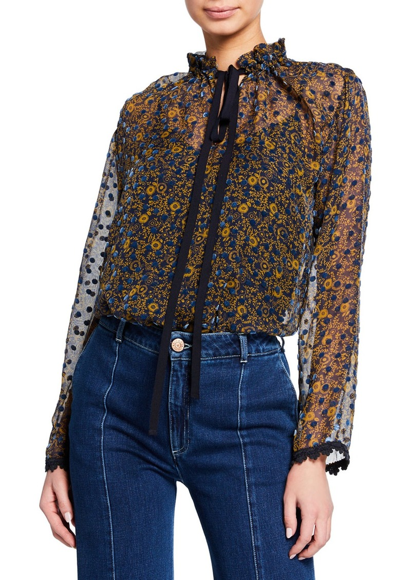 See by Chloé Printed Tie-Neck Silk Blouse