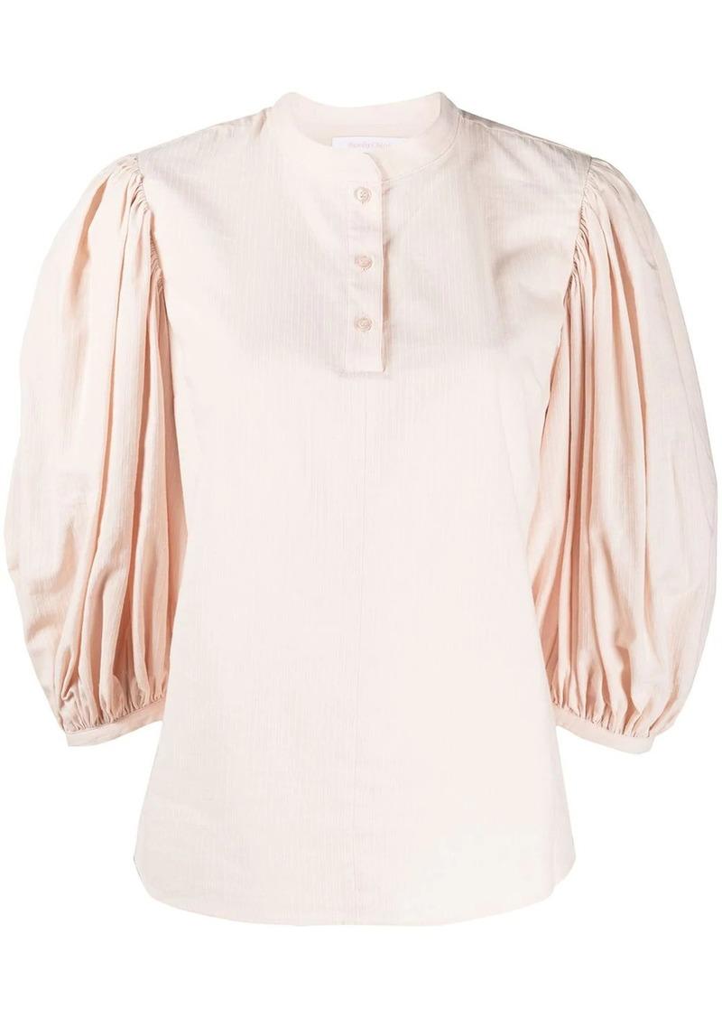 puff-sleeve mandarin collar blouse