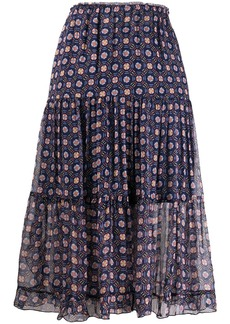 See by Chloé pull-on tiered midi skirt