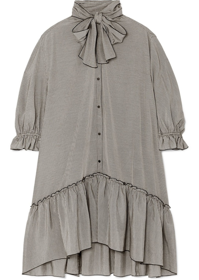 See by Chloé Pussy-bow Ruffled Gingham Crepe De Chine Dress