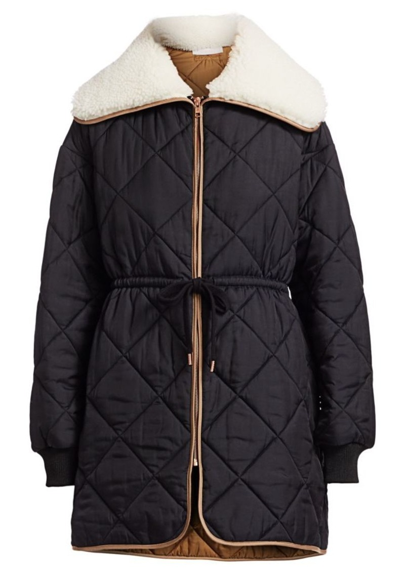 See by Chloé Quilted Faux Shearling Collar Parka Coat