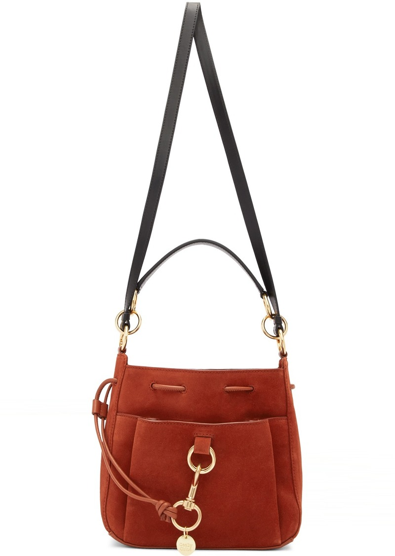 See by Chloé Red Large Suede Tony Bucket Bag