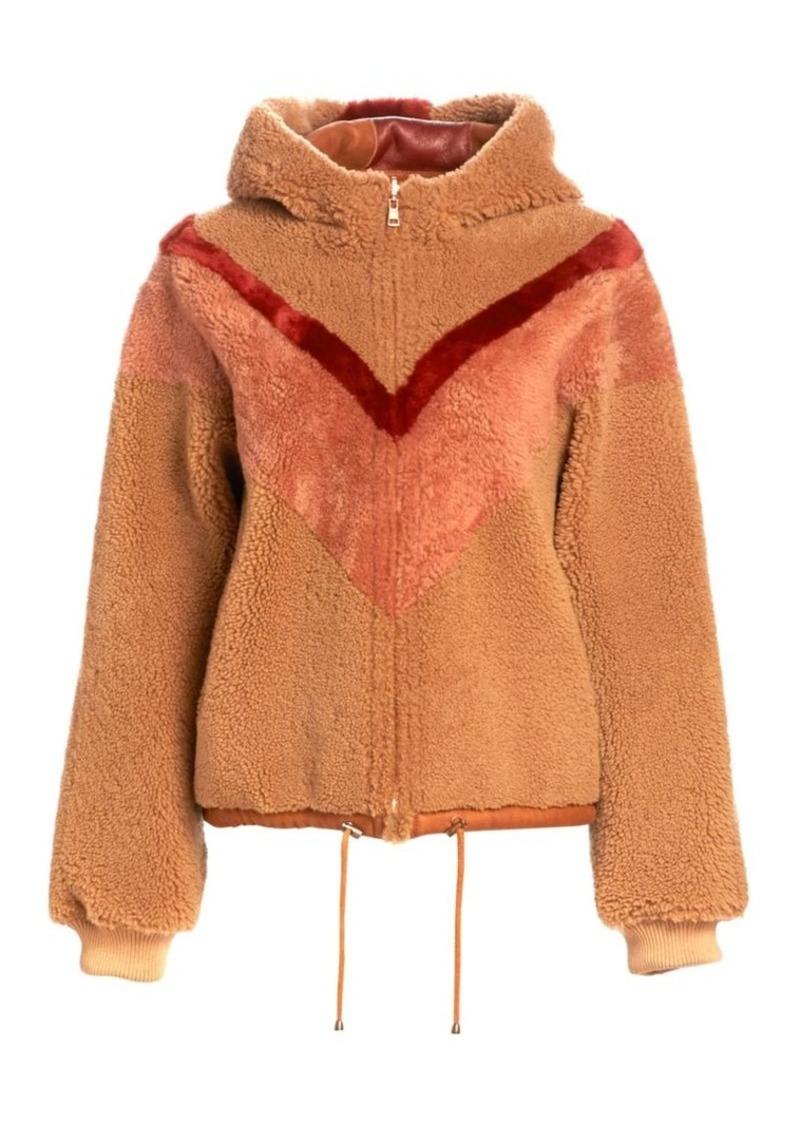See by Chloé Reversible Chevron Shearling Jacket