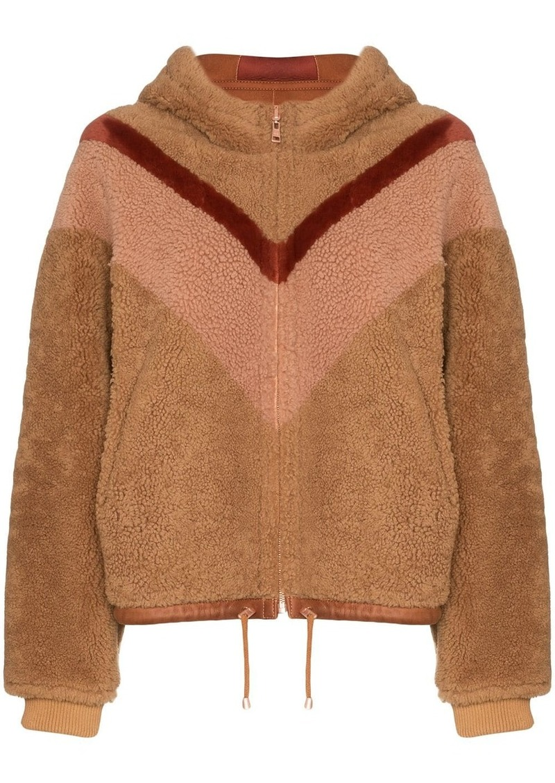 See by Chloé reversible chevron-stripe shearling jacket